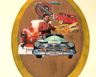 Collage on Wood, Lena Horn, Wall Art, Man Cave, Oval Shaped, Original Collage, Vintage Cars, Car Art