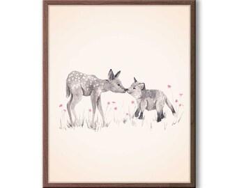 Deer with Fox Watercolor, Nursery Art, Woodland Nursery Art, Baby Girl Nursery, Animal Painting, Print - D18