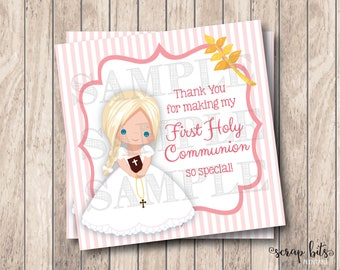 Instant Download, Printable First Communion Tags . Girl Communion Thank You Tags, Printable Thank You Tags, First Communion Printable Tags