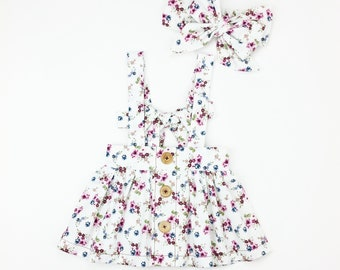 READY TO SHIP: (12M/1T) Girls Floral Bow Back Suspender Tie Skirt. Fall, Winter, Spring, Summer