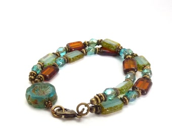 Blue & Brown Picasso Glass Bracelet - Rectangle Beads - Carved Glass Flower - Multistrand Bracelet - Bohemian Stacking Bracelet