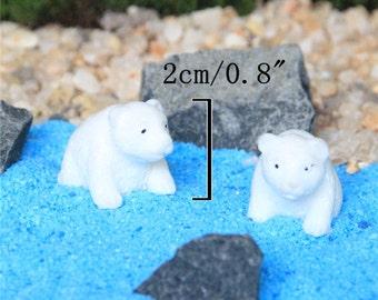 Miniature Polar Bear Terrarium Figurine, Tiny White Bear, Winter Artic Animal, Terrarium Mini Garden Toy