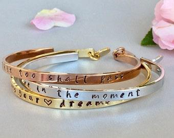 Custom Quote Bracelet Mantra Bracelet Stacking Cuff Bracelet Inspirational Jewelry Inspirational Bracelet Graduation Gift