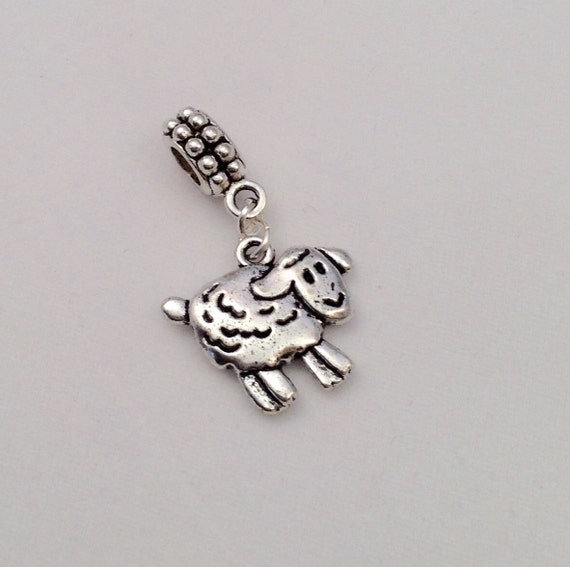 JW Charm, Dangle Sheep, European Style, Silver-tone.  Blue velvet gift pouch included. #309