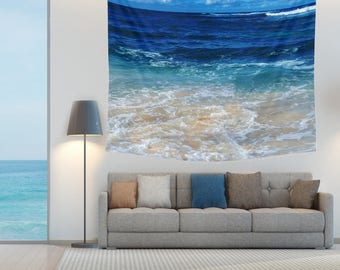 Tropical Ocean Wall Tapestry deep blue indigo wave boho beach tapestry sea wall hanging surf grommets beach house coastal decor ocean style