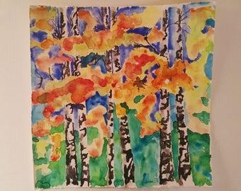 Aspen tree watercolor painting, original watercolor painting