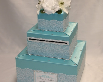 Custom made Wedding Card Box-Lace design-any colors