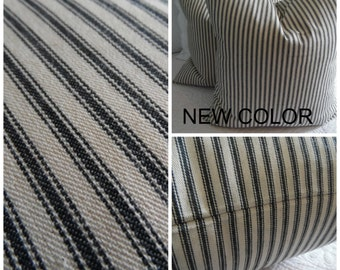 Black.Navy Blue and Potting Soil Brown Ticking Pillow Covers.Stripe. Pillow covers.Farmhouse Pillows.Country Slipcovers.Fall Pillow Covers