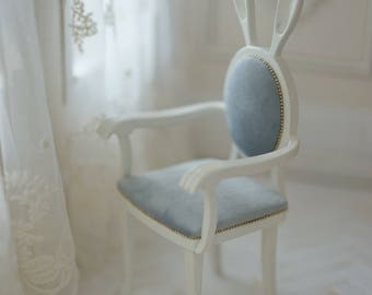 Dollynature 1/6 Scale Bunny Chair For 12 Inch Fashion Doll Such As Blythe Or Fashion Royalty ~Only the Light Blue Chair