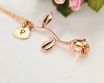 Rose Necklace, Rose Gold Initial Necklace, Rose Gold Rose Charm, Flower Charm, Garden Gift