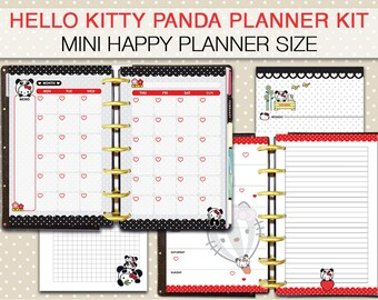 Mini Happy Planner Panda printable planner , week on two pages, weekly planner, monthly view, kawaii instant download panda