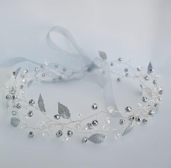 Bridal crystal halo Wedding hair vine Crystal hairvine