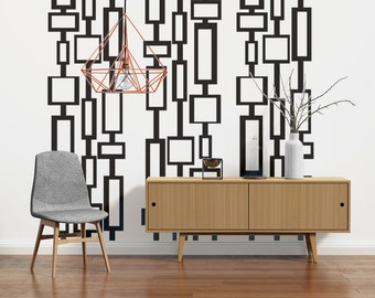 Mid Century Modern Decor, Modern Wall Decals, Mid Century Modern Wall Art, Retro Wall Decal, Geometric Wall Decals, Modern Nursery Decor