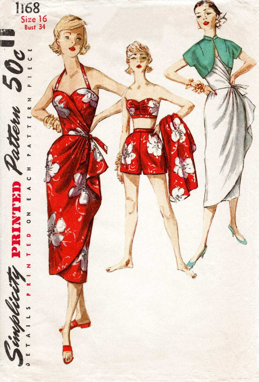 1950s 1960s Jahrgang Sarong Kleid nähen Muster Reproduktion BH