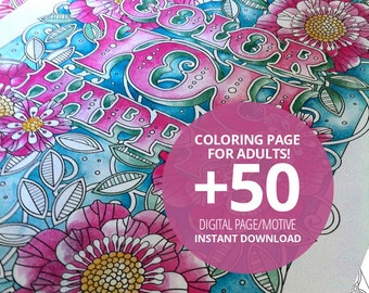 50(!) coloring pages for adult and kids,  instant download, printable pdf
