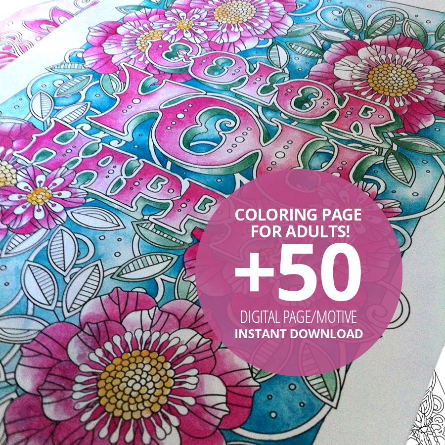 50 Coloring Pages For Adult And Kids Instant Download