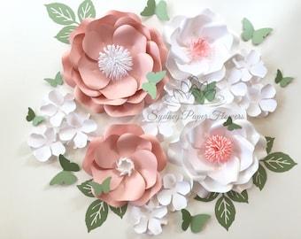 WHITE SPRING Paper flower super mini backdrop/Paper flower wall/Wedding Backdrop/Bridal Baby shower/Sweet table/Christening /Dessert table