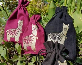 Small  pouch - Alpaca-Bag for little things or presents Kleines  Säckchen - Alpaka - Beutel für Kleinigkeiten - HANDPRINTED