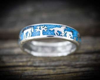 Sterling silver storytelling scenic horse ring with inlaid crushed Turquoise Size - 5.5 through 15 (Half Sizes available)