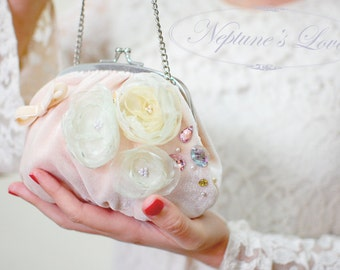 "Pink Velvet Handbag with Flowers ""She Wore Pink"", with Organza and Satin Flowers, Floral Handbag, Vintage Style,Wedding Bag,Handmade Flowers"
