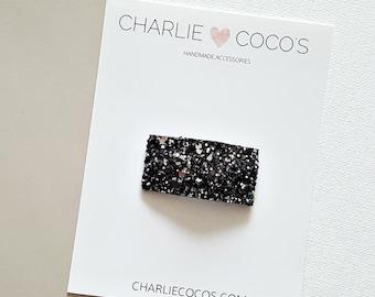 Black Glitter Snap Hair Clip // Baby Girl Glitter Snap Hair Clip by charlie coco's