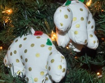 Nerdisaurus Christmas Polkadot Dinosaur Handmade Handsewn Stegosaurus Ornament
