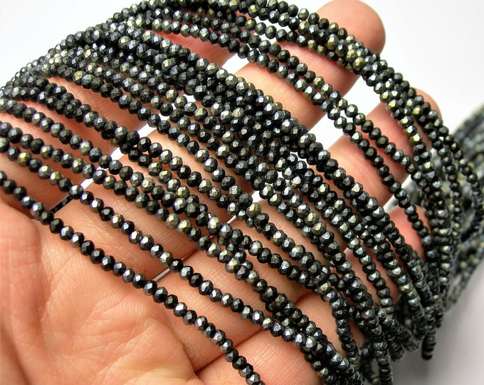 Crystal - rondelle faceted 3mm x  2mm beads - 196 beads - AA quality - Black dual tone ab frosted  - CAA2G194