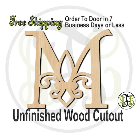 Fleur de Lis Initials- 410005A-Z - Monogram Cutout, Initial, unfinished, wood cutout, wood craft, laser cut, wood cut out, DIY, Free Ship