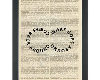 Inspiring What goes around Dictionary Art Print