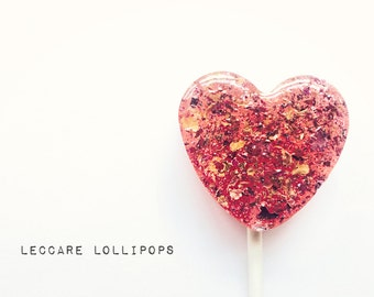 Honey Lollipops //  Rose Honey Hearts  // Edible Flowers // Summer Wedding // Pink Favors // Rose Lollipops // Leccare Lollipops // 6 count