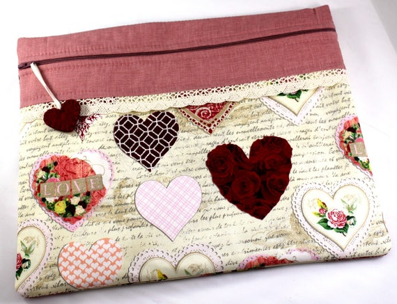 Valentine Hearts Cross Stitch Embroidery Project Bag