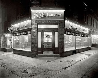 Elite Laundry At Night 1920's Photo