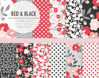 RED BLACK floral digital paper. Valentine heart hand drawn patterns. Gray, red, black, white pack.