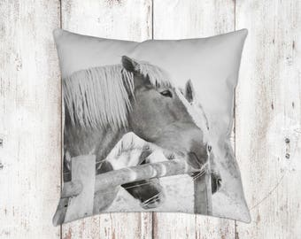 Horse Decorative Pillow - Throw Pillows - Equine Decor - Horse Decor - Gifts - Rustic - Farmhouse Decor - Home Decor - Black White