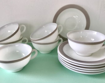 Pyrex Set of 12  Dove White with Gray band Teacups and Saucers