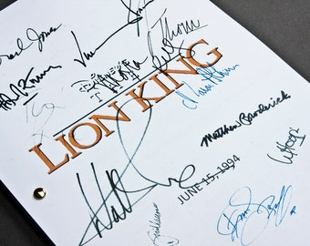 The Lion King Film Movie Script with Signatures / Autographs Reprint Disney Unique Gift Christmas Xmas Present TV Fan Geek Simba Classic