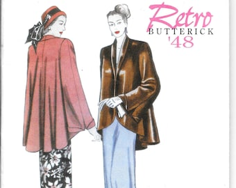 BUTTERICK 5144 UNCUT Size 8 10 12 14 B 31 32 34 36 Retro 1948 Flared Jacket Loose Fitting 1940's re-issue OOP Pattern