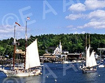 Boothbay Harbor Maine Windjammer Days Maine Panoramic Photography Maine Photographer Paul Vose MADE IN USA