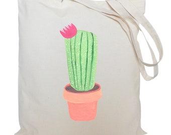 Tote bag/ drawstring bag/ pink cactus/ cotton bag/ material shopping bag/ shoe bag/ market bag