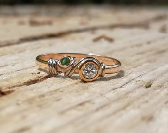 Ring, 18 K gold, thin ring, unique ring, melted, woman, emerald ring, diamond, ring gold, gemstone ring, Gemstone Ring