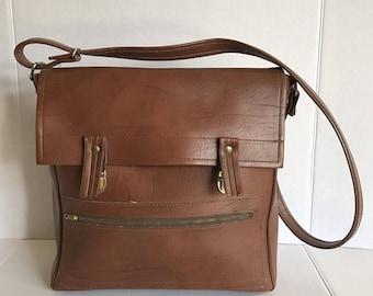 Vintage Brown Vinyl Vegan Shoulder Bag Carry On Luggage