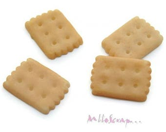 Set of 4 biscuits resin embellishment scrapbooking cardmaking 1 *.