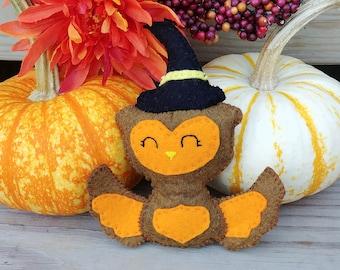 Halloween Owl, Mini stuffie, owl, witch, halloween decor, stuffed animal, fall owl,