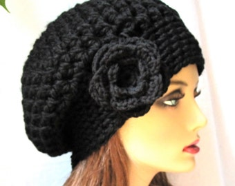 Black Slouchy Beret, Womens Hat, Chunky, Flower, Head Cover, Teens, City Hat, Halloween, Birthday Gifts, Gifts for Her, JE410BESF