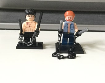 Bruce Lee Chuck Norris Custom made Lego inspired Minifigures martial arts action Movie Stars