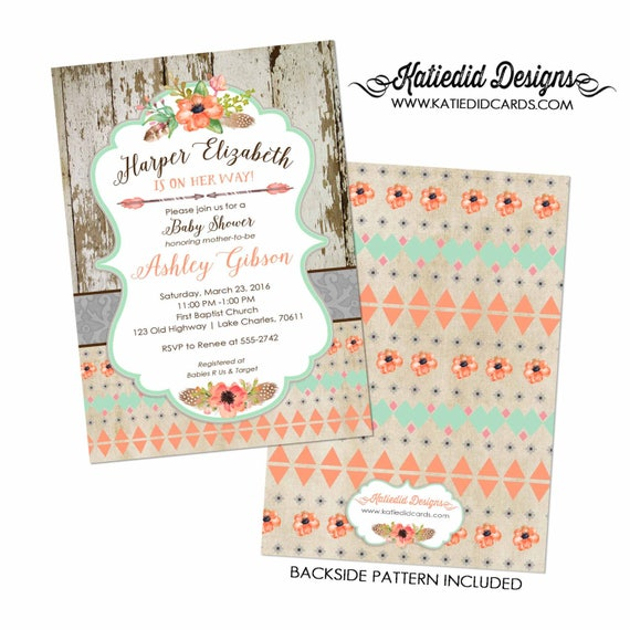 boho baby shower tribal invitation mint coral invite diaper and wipe brunch surprise gender reveal co-ed baby shower Katiedid Designs 1445
