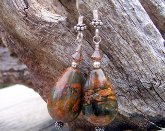 African opal and crystal earrings african opal
