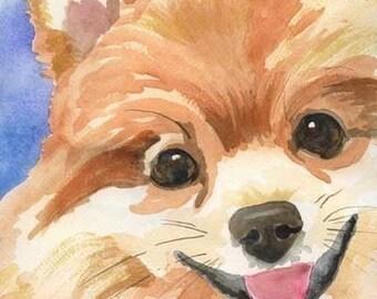Pomeranian Art Print of Original Watercolor Painting - 8x10 Dog Art
