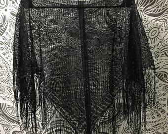 Black lace poncho