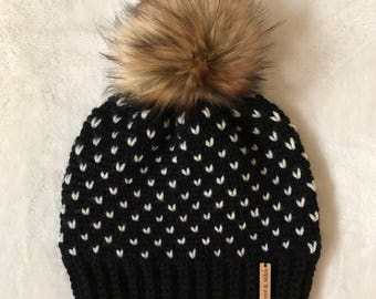 Crochet Fair Isle Beanie with Faux Fur Pom Pom